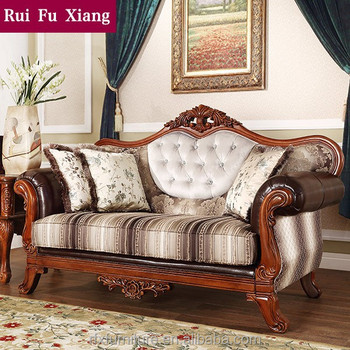 Countryside Style Fabric And Leather Wood Sectional Sofa Set For Home  Furniture N 258