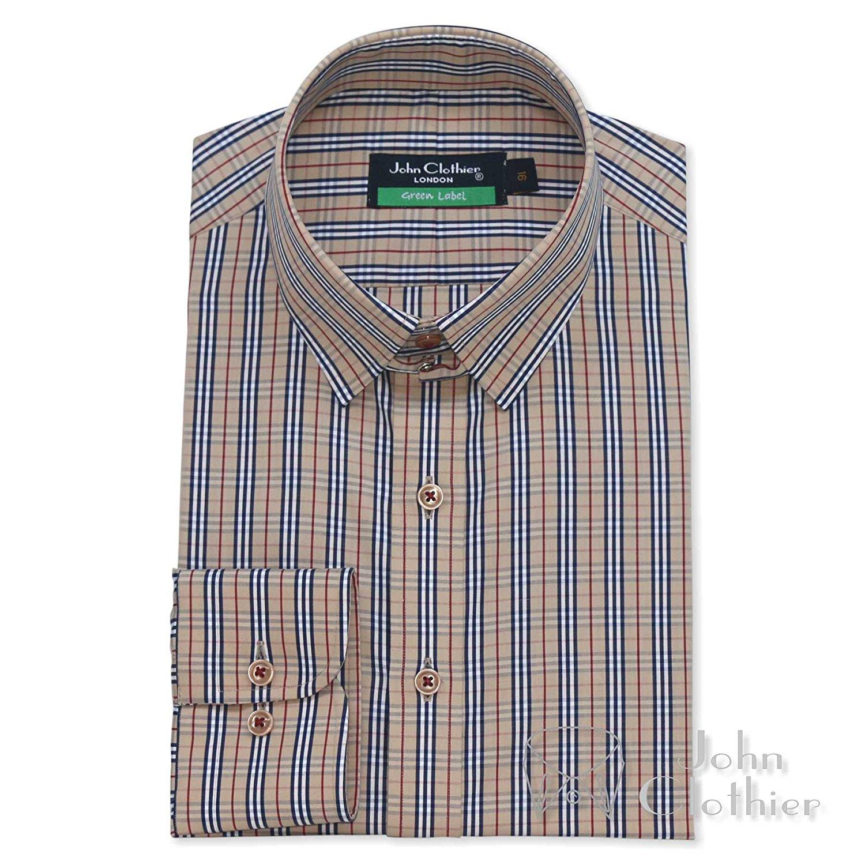 Tab collar shirt Sky Blue Herringbone Mens Formal Loop collar James Bond Gents