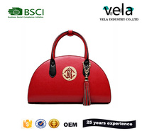 New fashionable dumpling shape red bridal high quality leather handbag