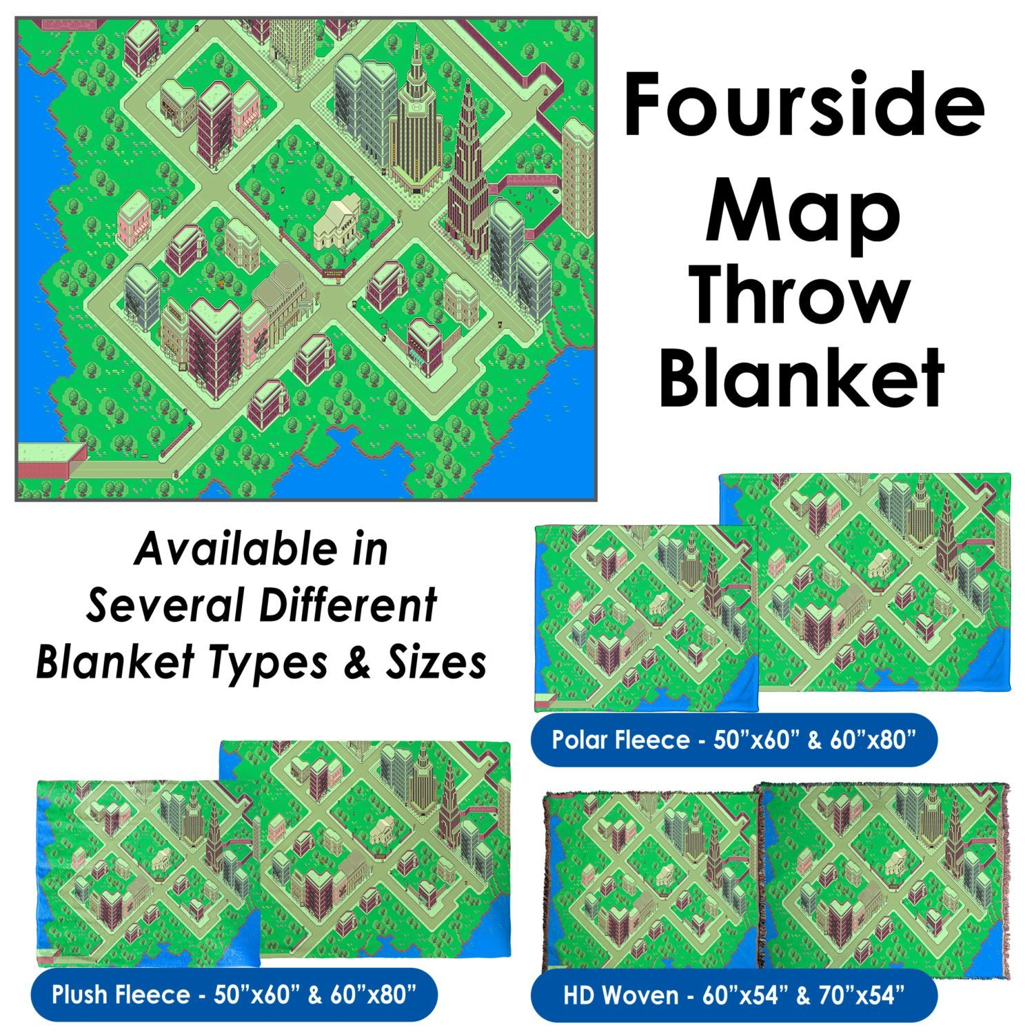 "EarthBound, Fourside Map - Throw Blanket / Tapestry Wall Hanging (Plush Fleece, 60""x80"")"