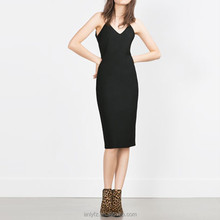 Women dress wholesale small ribbon on back vent straight black tight sleeveless medium dress