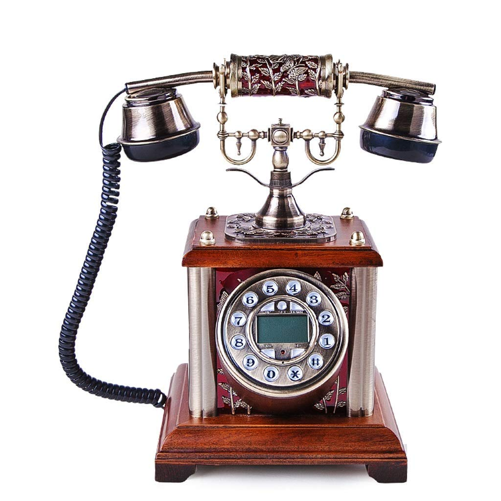 PCF Classic European Elegant Antique Telephone Solid Wood Base Metal Bracket Personality Creative Antique Landline Caller ID Home Bedroom Hotel Landline