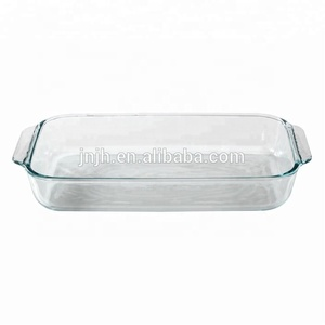 Baking Dishes Pans kitchen appliance BPA free reheated glass dinner plates/baking dish with silicone handles