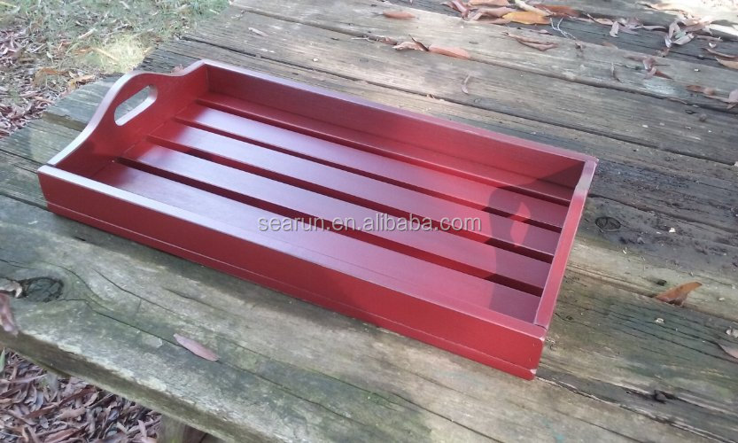 Country Rustic Slatted Wooden Serving Tray