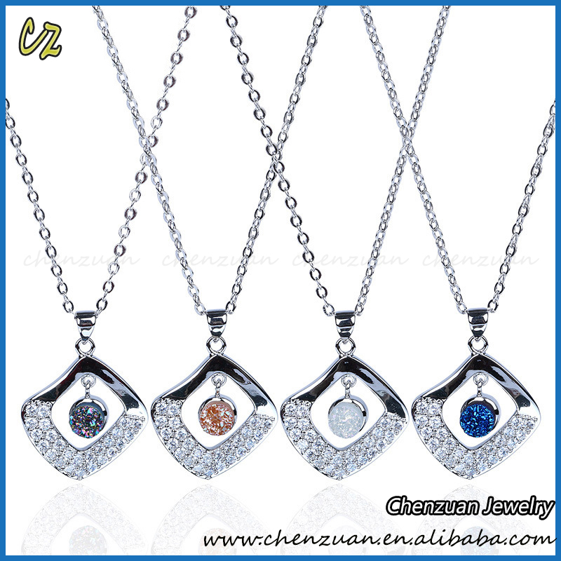 High-end market 9925 Sterling silver druzy stone necklace, Handmade agate crystal stone necklace
