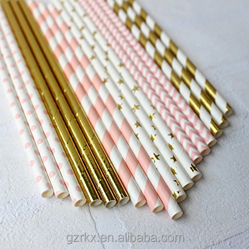 Purple and Gold Biodegradable Drinking Paper Straws with Coral Stripes,Decorative Paper Straws for Birthday Parties