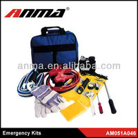 roadside emergency car tools kit bag for car with help flag flashlight booster cable air compressor tow rope rain coat