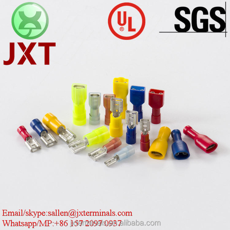 ULSGS CE splice type female terminals red blue yellow Nylon fully insulated double crimp female disconnects
