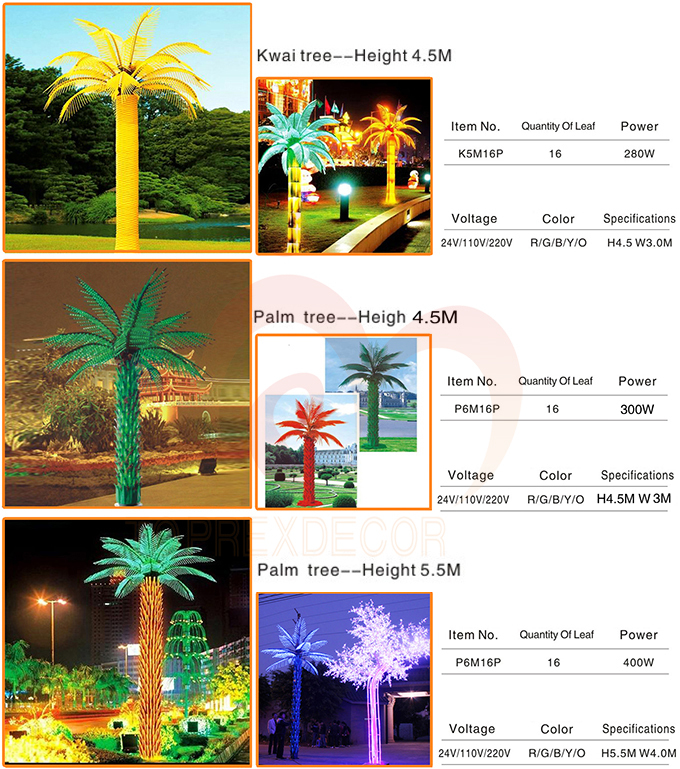 lighted palm tree