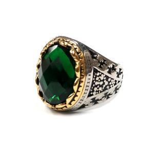 Afxsion Fashion stainless steel jewelry casting gold and silver inlaid semi-gem ring men