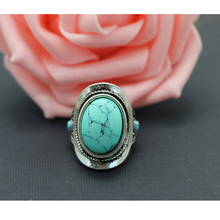 Fashion Designs Blue & Green Stone Turquoise Ring For Girls Women Antique Silver Alloy Sleek Ring Sweet Jewelry