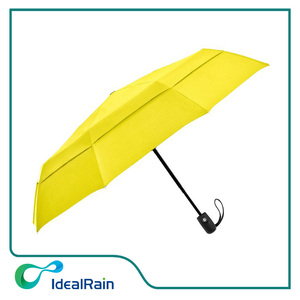 Double Canopy Windproof Travel Umbrella-compact yellow umbrella with 9 ribs