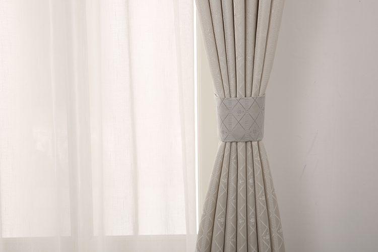 Promotional vanilla jacquard plaid luxury window strip curtain for home strip