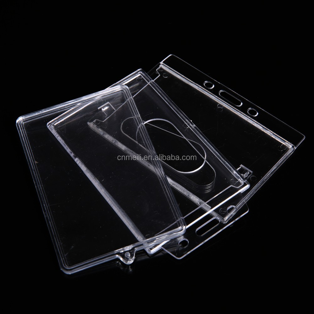 High quality acrylic hard plastic id badge/business card holder/id card holder