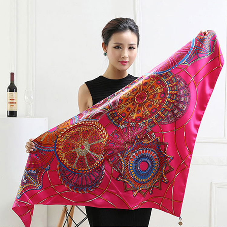 New design custom wheel printed fashion elegant red triangle neck lady scarf