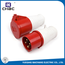 CHBC 4-Pin 32A 3P+E Poles Red Colour Industrial Power Plug With Socket Enclosure