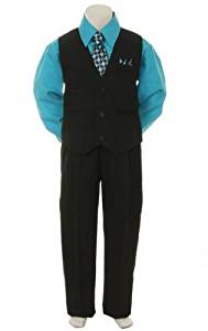 Stylish Dress Suit Outfit Pant, Vest & Tie Set-Infant Baby Boys & Toddler-Black/Turquoise, 9 Months Size: 9 Months NewBorn, Kid, Child, Childern, Infant, Baby