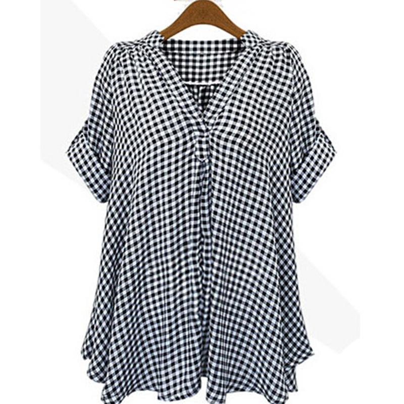 2015 Women Shirt Spring Summer Black and White Plaid Short ...