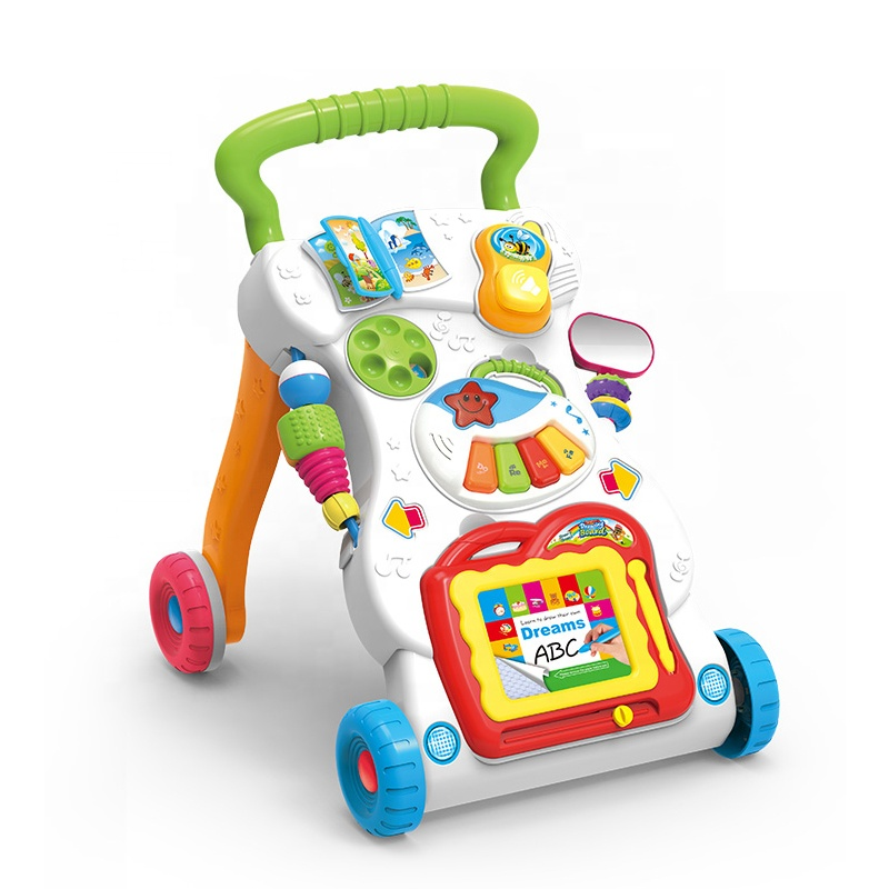 HUADA 2019 Hot Selling Eco-friendly Plastic Light Music Baby Learning Walker Toy for Little Baby