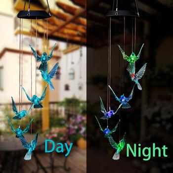 Hot Sale Garden Patio Tree Decor Solar Powered LED Changing Light Color Hummingbird Wind Chimes Outdoor Windlight