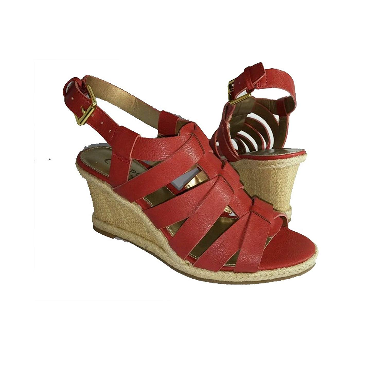 d36d5aa5d9a Chaps Red Platform Wedge Tumbled Vachetta Womens Dallyn Heels Sandal (7B)