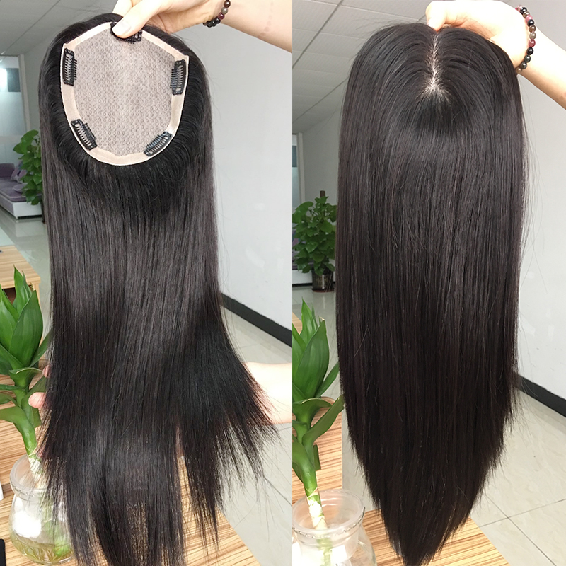 Indian remy hair toupee for women base size 5.5 inch x 6 inch sunlight human hair toppers