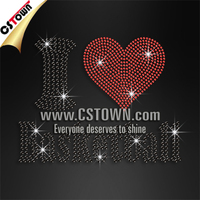 Custom I love basketball rhinestone tranfers basketball