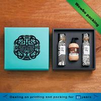 Light blue perfume liquid shampoo bottles packaging cosmetics box