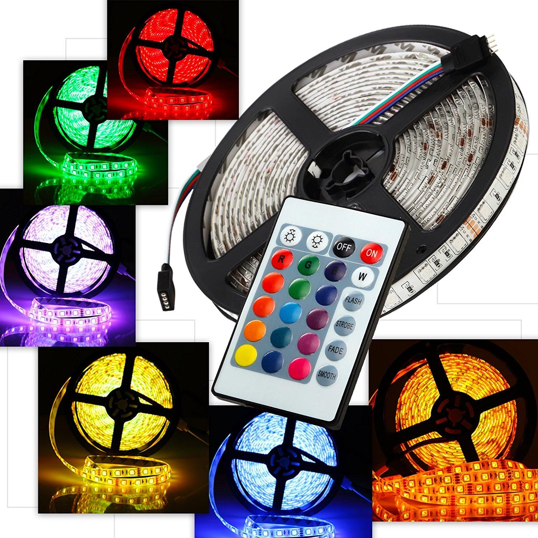 Pryst LED Light Strip Kit, LED Strip 16.4ft/5m, Color Changing RGB Strip Lights, Flexible LED Tape, 300 Units SMD 5050 RGB LED, Super Bright & Waterproof LED Lights with Remote and 12v Adapter
