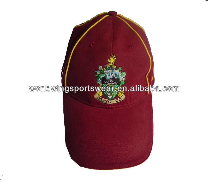 Mens custom structured 100% brushed cotton twill burgundy with yellow piping embroidered baseball cap