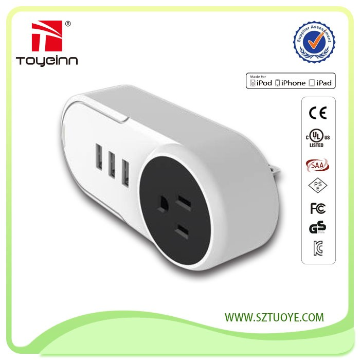 New Design 1 Outlets 2400W & 3 USB Charging Ports AC Plug DC 5V 3A 3 USB Charger Port Power Strip