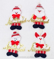 Santa Claus Snowman and Reindeer Santa Claus Christmas Hanging Ornament with Merry Christmas for Christmas Tree Decoration