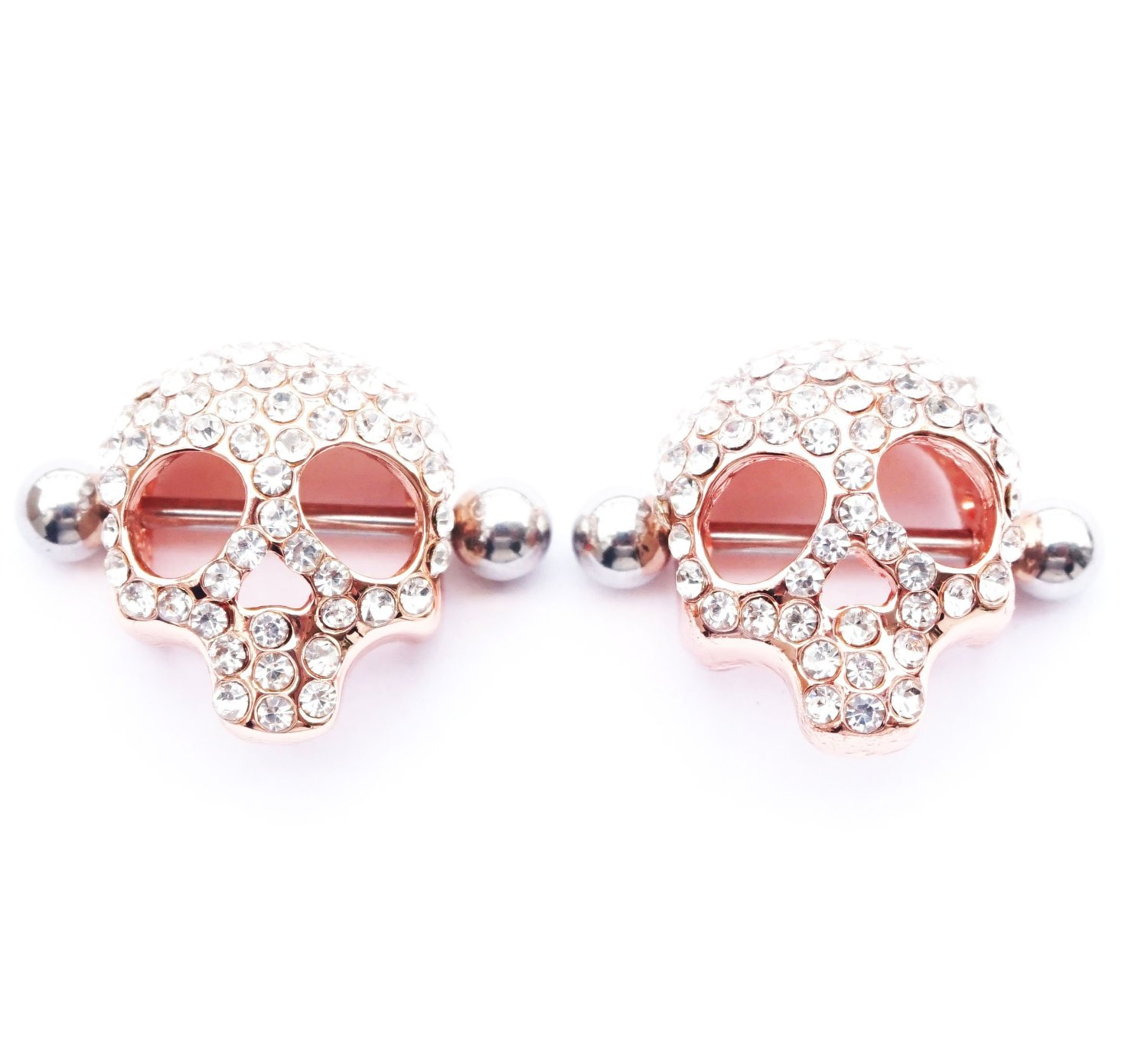 Get Quotations · Dedegui 316l Stainless Steel 14g Gold Bar 3d Skull Nipple  Rings Shields Body Piercing Sold As 18ae71317277