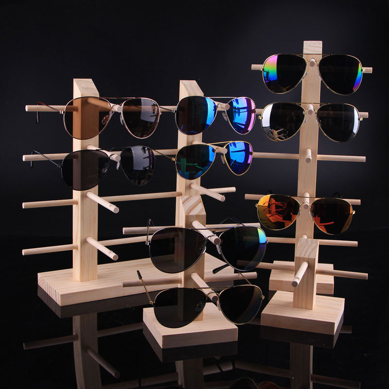 wood optical frames display <strong>stand</strong> for goggles and sunglasses