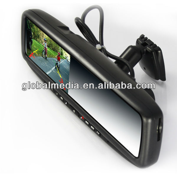 4.3 inch digital rearview mirror monitor with built in DVR, two-channel video recording, reverse camera display