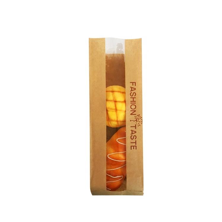 卸売カスタム印刷されたプラスチック窓パンの包装ブラウンベーカリークラフト紙袋
