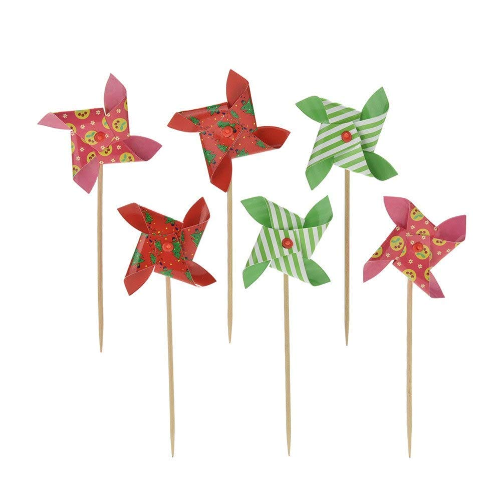 PALASASA Small windmill and Speckle happy birthday banner cake topper,Party Cake Decoration Supplies