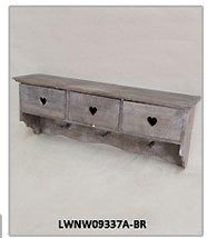 Vintage Antique Rustic Farmhouse Decorative Metal Framed Rack Wooden Wall Mounted Display Shelf