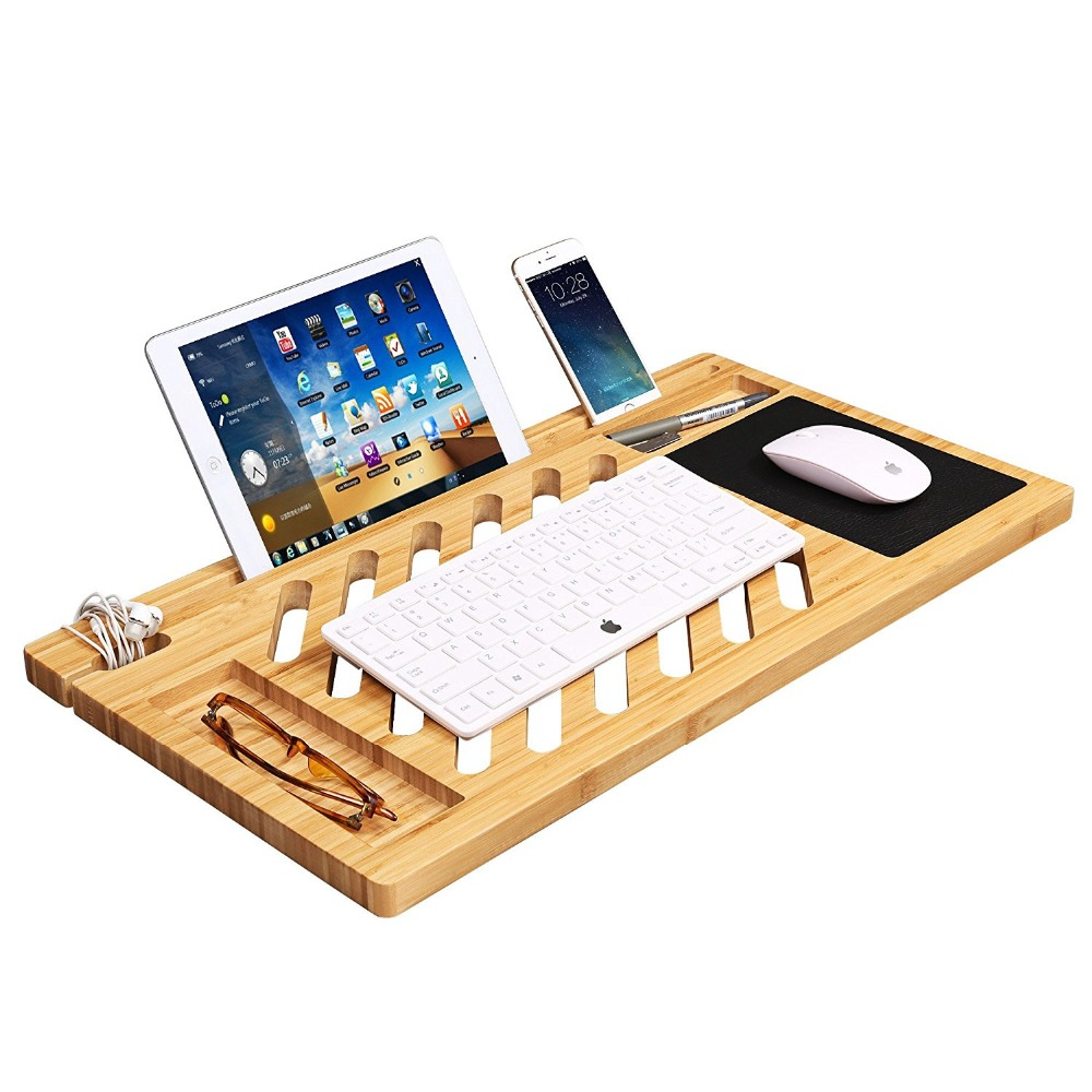 Bamboo Lap Desk Board Stand with Built-in Mouse Pad