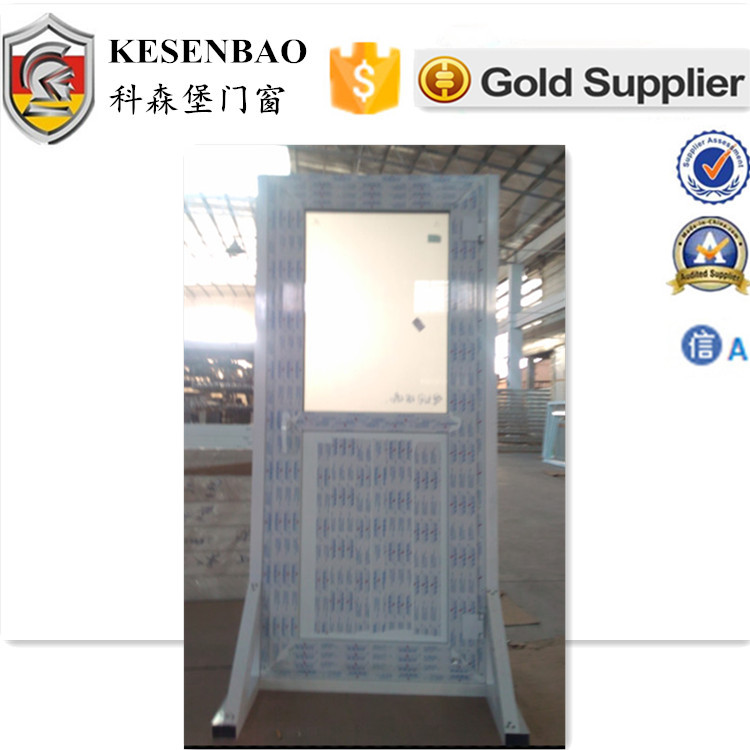 Customized casement Factory Direct UPVC Doors with half glass and pvc panel