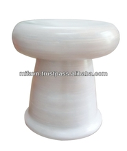 Handcrafted White Coiled Bamboo Stool (Vietnam)