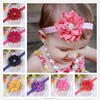 NEW Rolled Ribbon Headdress flower Headbands Boutique +girls elastic hair bands+hair accessories for kids BTS005