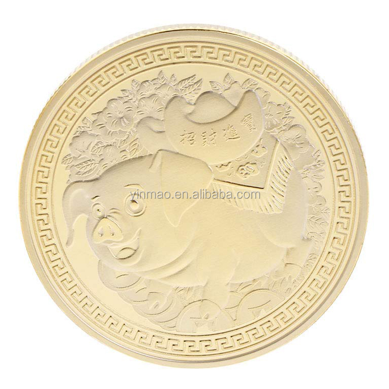 2019 Pig Souvenir Coin Gold plated Chinese Zodiac Commemorative Coin Lucky s!