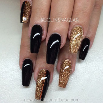 newair gold schwarz nail art mit glitter kurze k nstliche finger sarg n gel 2017 buy sarg. Black Bedroom Furniture Sets. Home Design Ideas