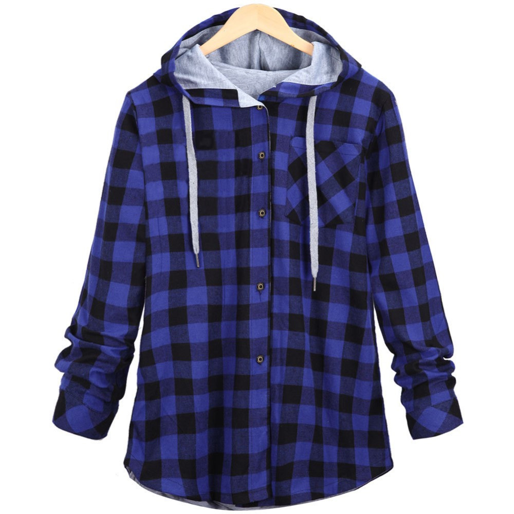 Women casual red plaid shirt hooded coat long sleeve ...