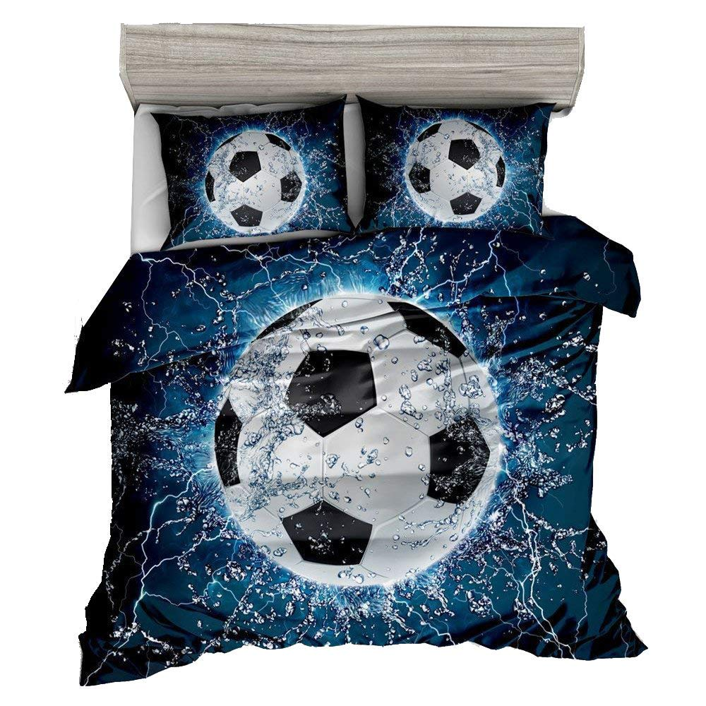 Marvelous Get Quotations · AMOR U0026 AMORE 3D Blue Football Soccer Bedding Kids Queen  Comforter Set, 3pc Sports Bedding