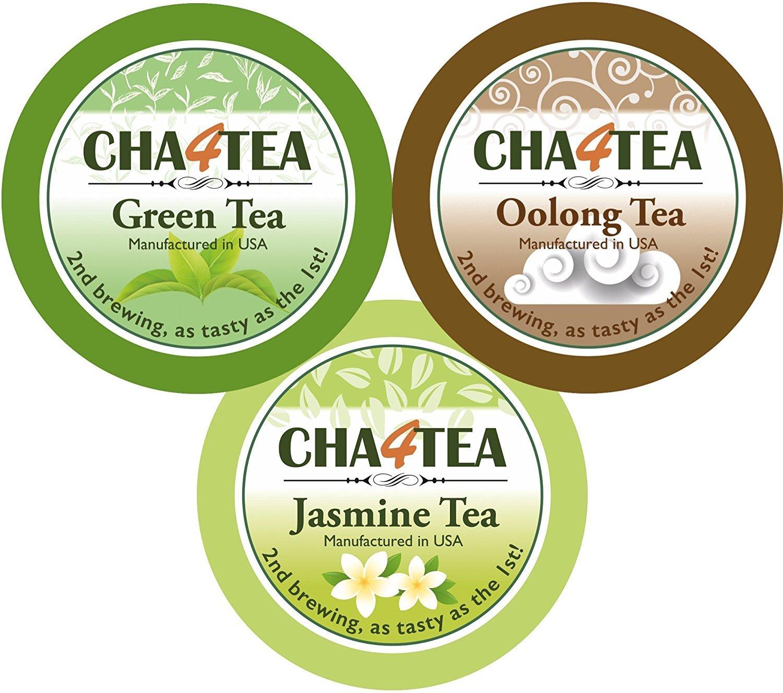 Cha4TEA 36-Count K Cups Assorted Green Tea for Keurig K-Cup Brewers (Green Tea, Jasmine Green Tea, Oolong Green Tea)
