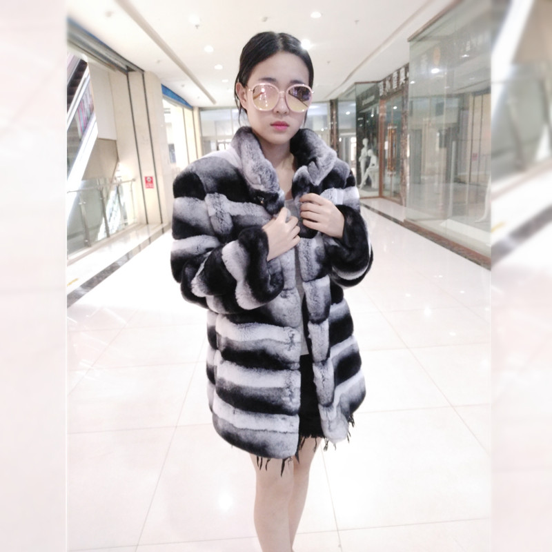 2017 Real Chinchilla Rex Rabbit Fur Long sleeve Coat for Elegant Women