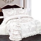 luxury polyester flower design bed sheet chinese wedding bedding set