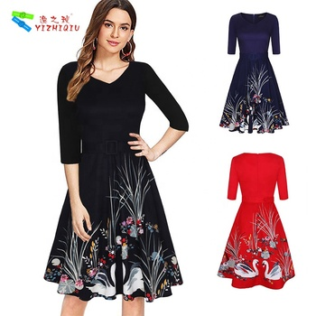 YIZHIQIU Instyles Vintage Womens 50s 60s Retro Swan Rockabilly Pinup Housewife Party Swing Dress